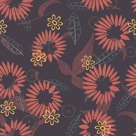 sepal: cartoon flowers on a dark background in seamless pattern