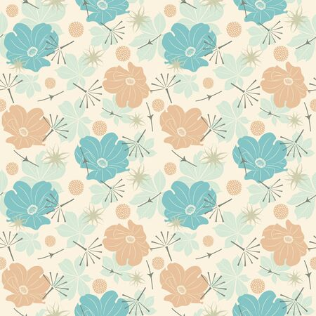 effortless: cartoon leaves and flowers on a yellow background in seamless pattern