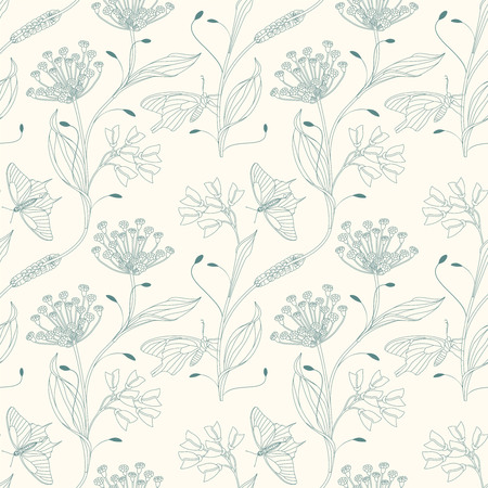 insects and flowers on a white background in seamless pattern Vector