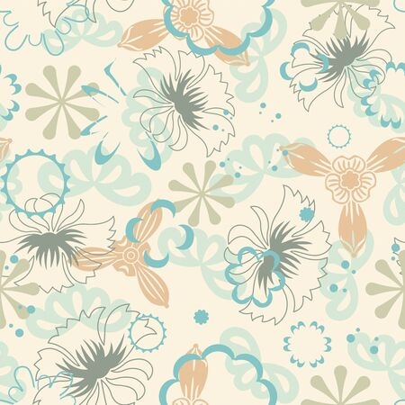 sepal: pastel flowers on a yellow background in seamless pattern