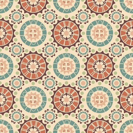 old wallpaper: floral ornament on a beige background in seamless pattern