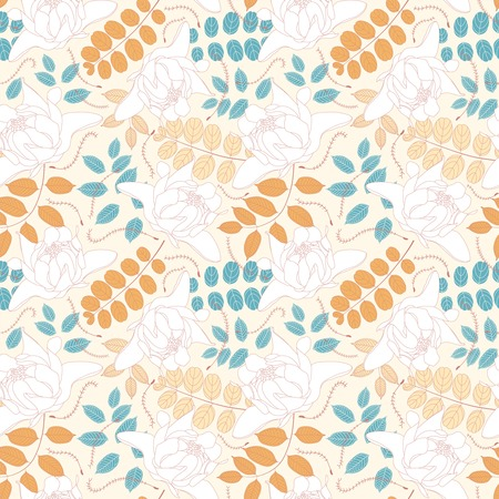 sepal: leaves and flowers on a light background in seamless pattern