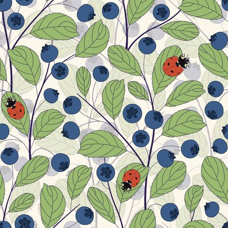 bilberry: whortleberries and ladybirds on a white background in seamless pattern Illustration