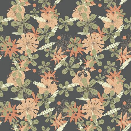 sepal: flowers on a dark background in seamless pattern