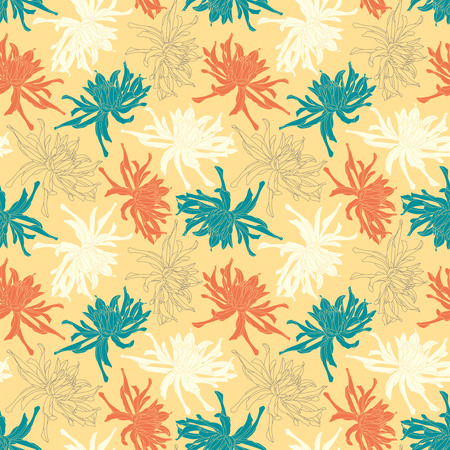 sepals: chrysanthemum on a yellow background in seamless pattern