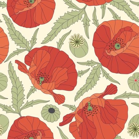 sepals: poppies on a yellow background in seamless pattern Illustration