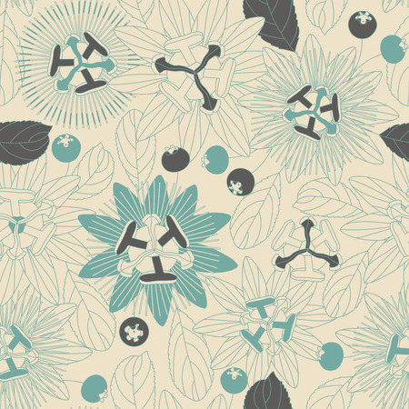 sepal: tropical flowers and berries on a white background in seamless pattern