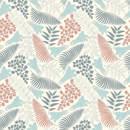 sepal: flowers and leaves on a white background in seamless pattern Illustration
