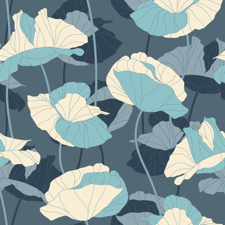 sepals: poppies on a blue background in seamless pattern