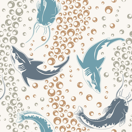 sheatfish: shark and silurus on a white background in seamless pattern Illustration