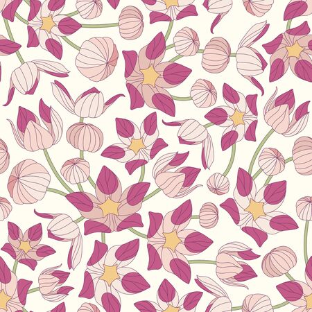 sepal: flowers on a yellow background in seamless pattern
