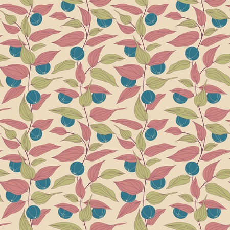 intricacy: berries on a beige background in seamless pattern