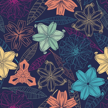 sensual: flowers and leaves on a dark background in seamless pattern