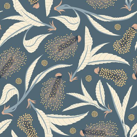 pussy: pussy willows on a blue background in seamless pattern
