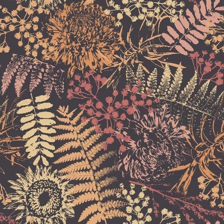 グランジ花とシームレスなパターンの暗い背景の葉