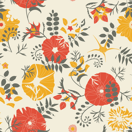 cartoon leaves and flowers on a yellow background in seamless pattern
