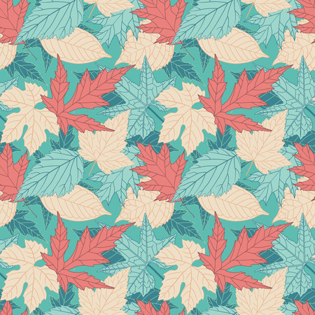 red happiness: leaves on a blue background in seamless pattern