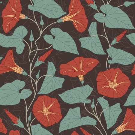 sepal: bindweed on a dark background in seamless pattern