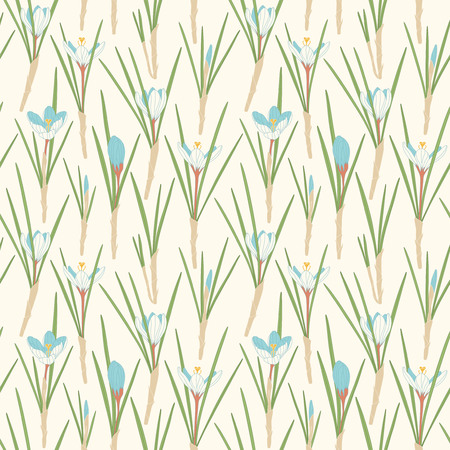 sepals: crocuses on a white background in seamless pattern