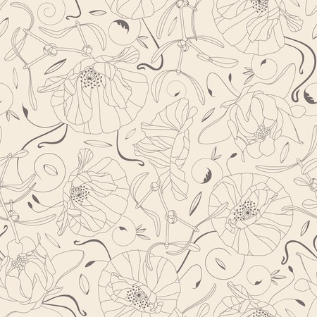 sepals: outline of flowers and leaves on a beige background in seamless pattern