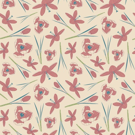 intricacy: crocuses on a beige background in seamless pattern