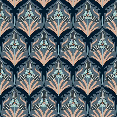 sepal: retro flowers on a dark background in seamless pattern