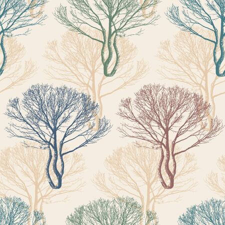fall winter: trees on a beige background in seamless pattern