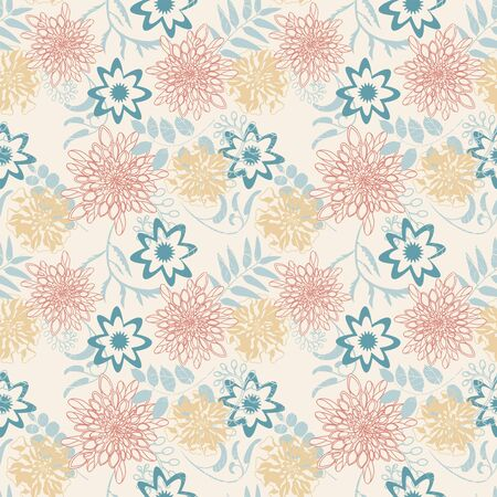 cartoon leaves and flowers in seamless pattern Illustration