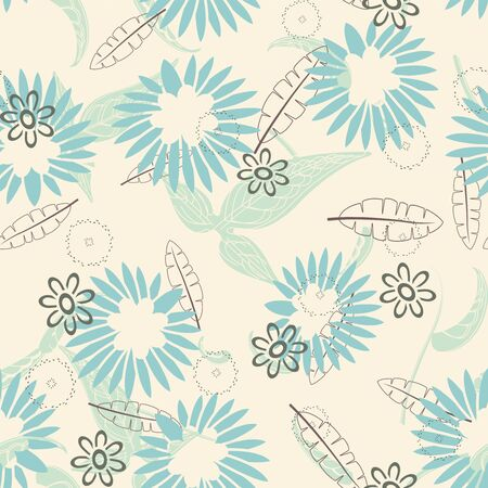 sepals: cartoon leaves and flowers on a yellow background in seamless pattern