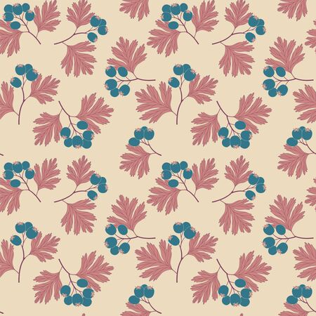 beige background: hawthorn berries on a beige background in seamless pattern