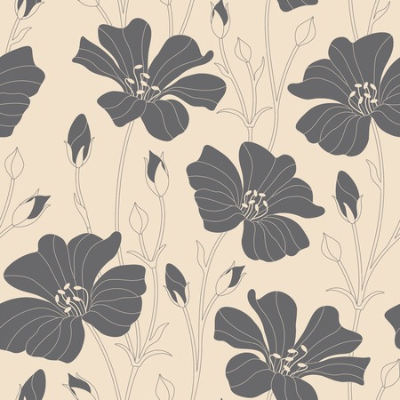 stems: flowers on a beige background in seamless pattern