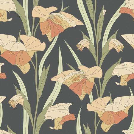 sepal: gladiolus on a dark background in seamless pattern