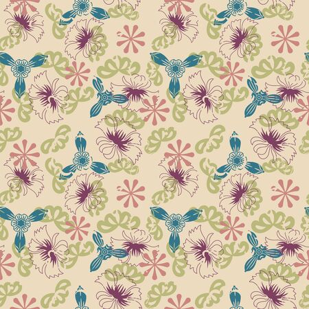 sepals: retro flowers on a beige background in seamless pattern