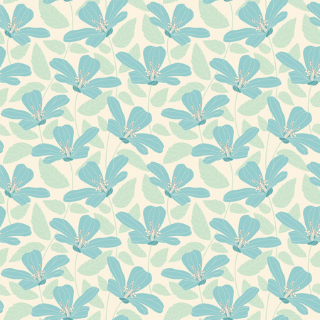 tender: pastel flowers on a yellow background in seamless pattern