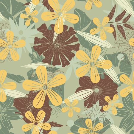 sepal: flowers on a green background in seamless pattern Illustration