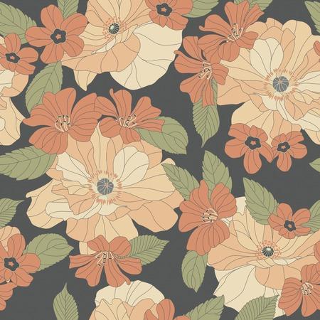 sentimental: flowers on a dark background in seamless pattern