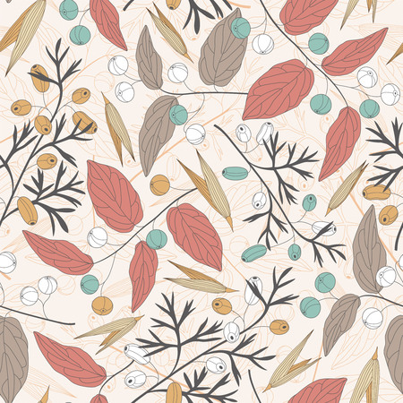 sentimental: berries and leaves on a white background in seamless pattern Illustration