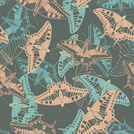 red animal: butterflies on a dark background in seamless pattern