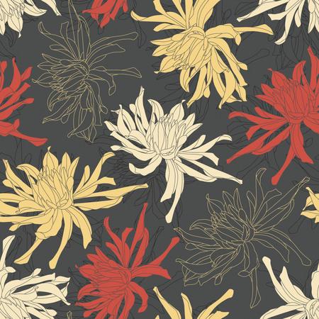 sepal: chrysanthemum on a black background in seamless pattern