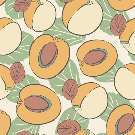 sparce: apricots on a white background in seamless pattern