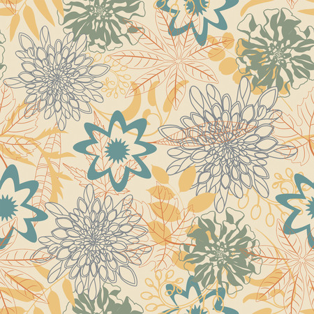 sepal: cartoon leaves and flowers in seamless pattern Illustration
