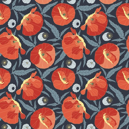 poppies on a dark background in seamless pattern