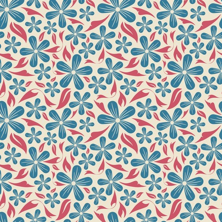 flowers and leaves on a beige background in seamless pattern Illustration