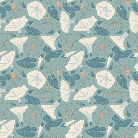 convolvulus: bindweed on a blue background in seamless pattern