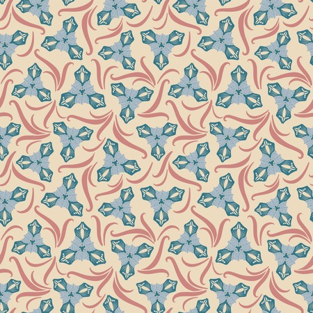 sepal: irises on a beige background in seamless pattern Illustration