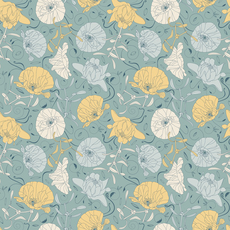 sepal: elegant flowers and leaves on a blue background in seamless pattern Illustration