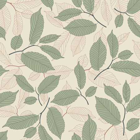 beige background: leaves on a beige background in seamless pattern
