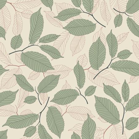 tige: les feuilles sur un fond beige seamless Illustration
