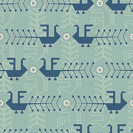 russian: traditional russian abstract birds in seamless pattern