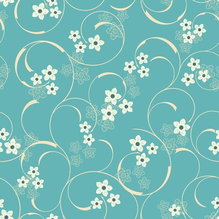 cartoon flowers on a blue background in seamless pattern